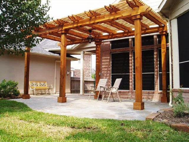 Taking The Elegant Cover Design A Pergola Provides, This Patio Has Been  Given Ample Cover Without Closing Off The Space. Installing A Pergola As A  Patio ...